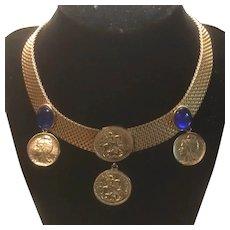 St. Georgius Equitum Patronus Faux Coins Medallion Mesh Necklace Blue Cabochon