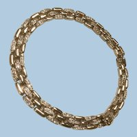 Ciner Signed Faux Diamond Pave Rhinestones Gate Link Collar Necklace.