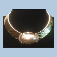 Ciner Large Baroque Pearl Rhinestone Slide Wide Collar Necklace.            .