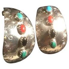 Native American James Harrison Pierced Earrings Turquoise, Coral, Malachite, Onyx