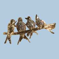 Joan Rivers Conversation Songbirds on a Branch Pin Brooch Pave Rhinestones