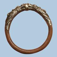 Art Nouveau Chinese Export Repousse Patina Silver Dragons Rattan Bamboo Bangle Bracelet