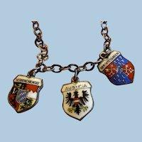 Three 800 Silver Enamel International Travel Shield Charms on Chain,  Austria, Berchtesgaden, Herrenchiemsee