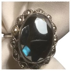 Uncas Sterling Silver Art Deco Large Oval Hematite Marcasite Ring Size 5 3/4