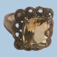 Sterling Silver Heart Framed Yellow Citrine Ring CNA 925.