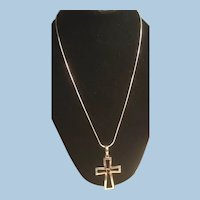 Sterling Silver Necklace Open Cross Pendant with Garnet Center
