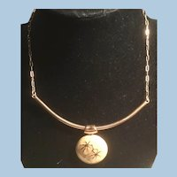 Signed Eisenberg Enamel Collar Necklace for Small Neck Paper Clip Chain