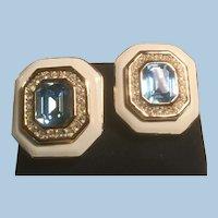 Gorgeous Christian Dior Heavily Enameled Octagonal Clip Earrings Aqua or Topaz Blue, Clear Stones