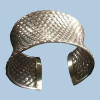 Awesome Wide Concave Bali Sterling Silver Diagonal Basket Weave Cuff Bracelet