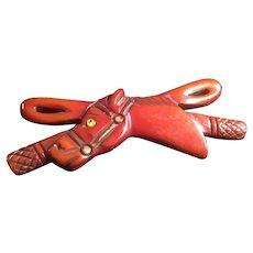 """Nearly 4"""" Long Carved Bakelite Horse With Riding Crop Pin Brooch, Hard to Find"""