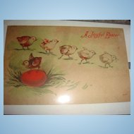Ducks in a Row Vintage Easter Card, Actually Chicks