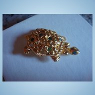 Gold Tone and Rhinestone Avon Turtle Brooch Figural Pin