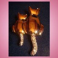 Whimsical Silvertone Figural Pin 2 Kitty Cats Rhinestones and Shiny Finish