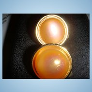 Cute Lisner Button Type Earrings Opalescent Stone