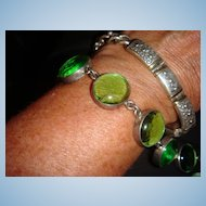 Sterling Silver Poured Glass Bracelet With Toggle