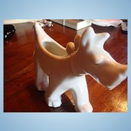 Small White Art Deco Dog Planter Ready for the Shows Marked Japan!