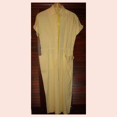 Vintage Abby Kent New York  Shirtwaist Dress Yellow White Stripe
