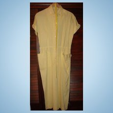 Vintage Abby Kent New York Summer Shirtwaist Dress Yellow White Stripe