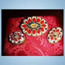 Intricate and Delicate Patriotic Red, White, Blue + More Micromosaic Brooch & Earrings Trumpet C GREAT FOR JULY 4TH