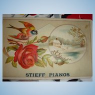 Stieff Pianos Trade Card: H. J. Shank, Harrisburg, Pennsylvania