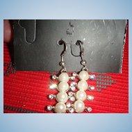 Cool Rhinestone and Faux Pearl Dangle Pierced Earrings Mod Style!