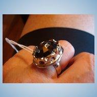 Whiting & Davis Hematite Silver Adjustable Costume Ring!