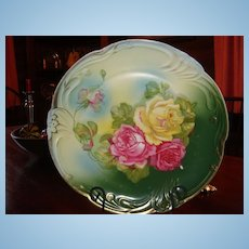 "12 1/4"" Bavarian Signed Rose Charger or Large Cabinet Plate Phenomenal Colors"