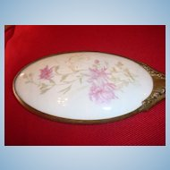 Old Porcelain Oval Hand Mirror Repousse Handle Pink Flowers