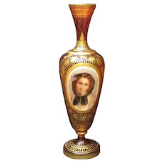 Hand Painted Bohemian Cranberry Glass and Gold Portrait Vase, Circa 1880