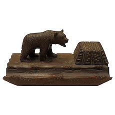 Hand Carved Black Forest Inkwell Inkstand with Bear and Pen Holder Circa 1900