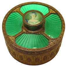 Antique French Guilloche Enamel Gilt Bronze Jewelry Box with Miniature Portrait