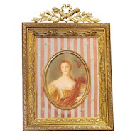 19th Century French Miniature Portrait Painting in Gilt Ormolu Frame
