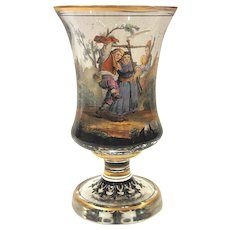 Bohemian Vase Goblet Hand Painted Farm and Topographical Scenes Circa 1840