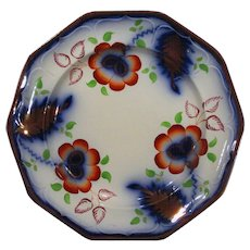 Antique Gaudy Welsh Ironstone Flow Blue Luster Plate