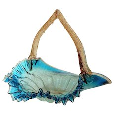 Antique English Blue Art Glass Basket with Overshot and Thorn Handle - Red Tag Sale Item
