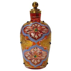 Circa 1885 Bohemian Moser Jeweled Cranberry Glass Perfume Bottle with Raised Enamel Gold