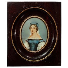 Fine French Miniature Portrait Painting, Artist Signed