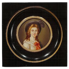 Antique French Miniature Portrait Painting in Wood and Ormolu Frame Artist Signed
