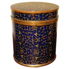 Antique Chinese Cloisonne Enamel Tea Box with Cover