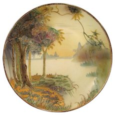 Nippon Gold Overlay Plaque Plate with Lake Scene