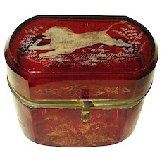 Circa 1880 Ruby Stain Glass Casket Jewelry Box, Engraved Lion Florals Gilded