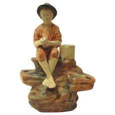1920's Weller Pottery Muskota Fishing Boy Flower Frog