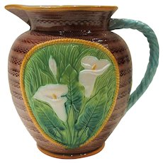 George Jones Majolica Calla Lily Jug Pitcher, Large Size, Mint Condition