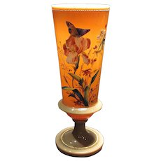 Tall Antique Opal Glass Fireglow Vase Gorgeous Enamel Decoration with Butterflies