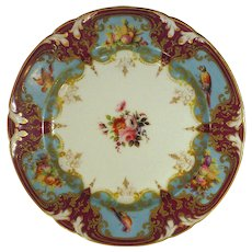 Superb Marked Denuelle Paris Porcelain Plate, Hand Painted Birds, Fruit, Florals