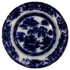 Flow Blue Plate Manilla Podmore Walker Circa 1845
