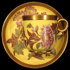 Gorgeous 1888 Hand Painted Royal Worcester Demitasse Cup and Saucer