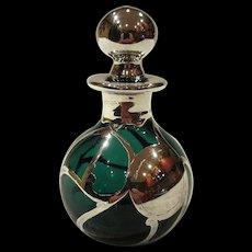Antique Art Nouveau Sterling Silver Overlay Emerald Green Glass Perfume Bottle