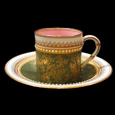 Gorgeous 1888 Jeweled Royal Worcester Demitasse Cup and Saucer