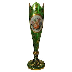 Lovely Bohemian Glass Budvase Hand Painted Floral Plaque and Gold Circa 1880
